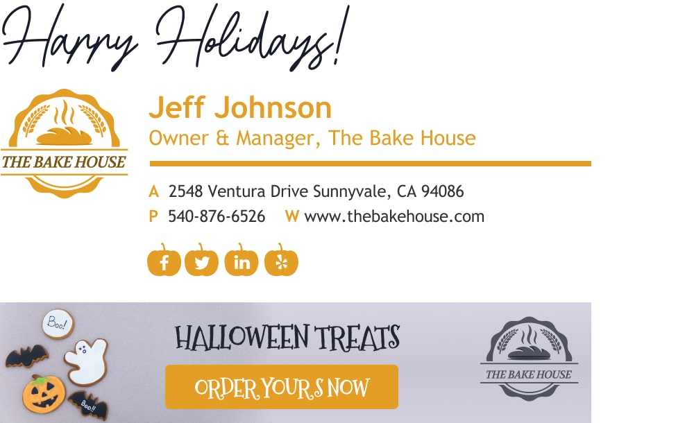 happy holidays email signature with sign off and holiday sales banner