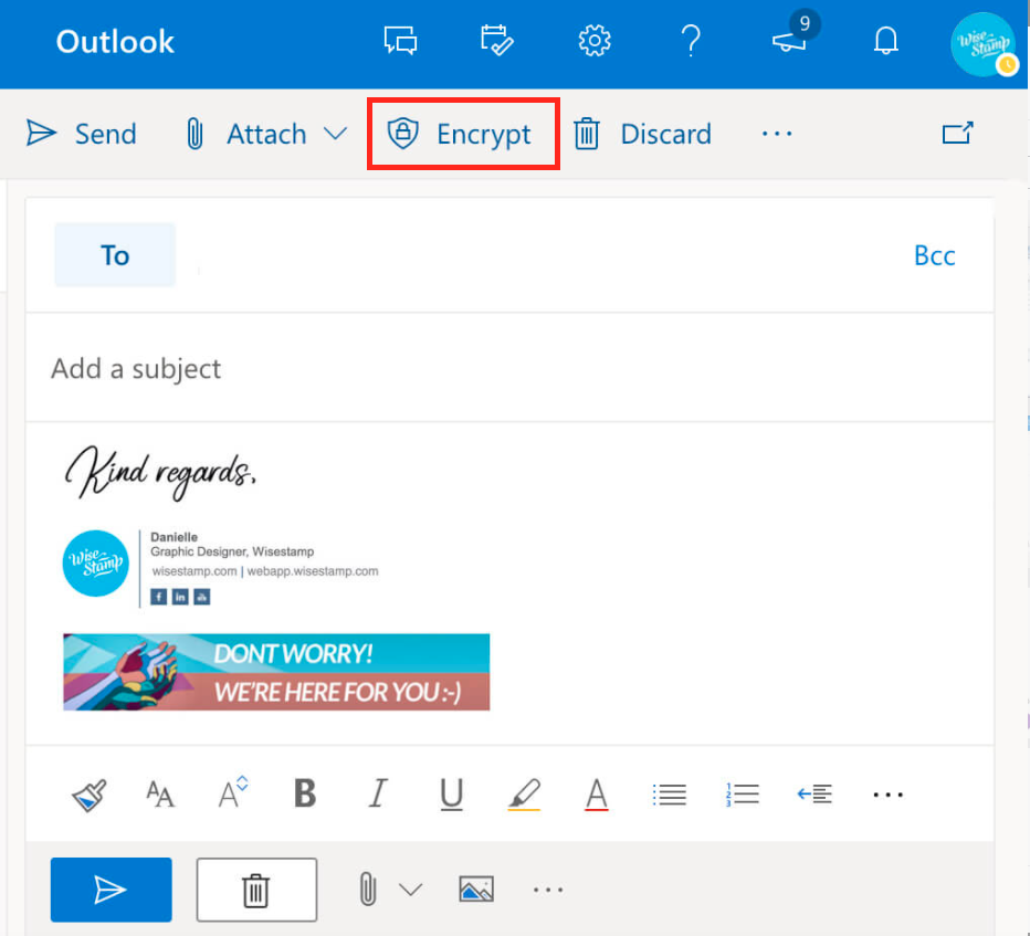 how encrypt emails in outlook 365 and OWA