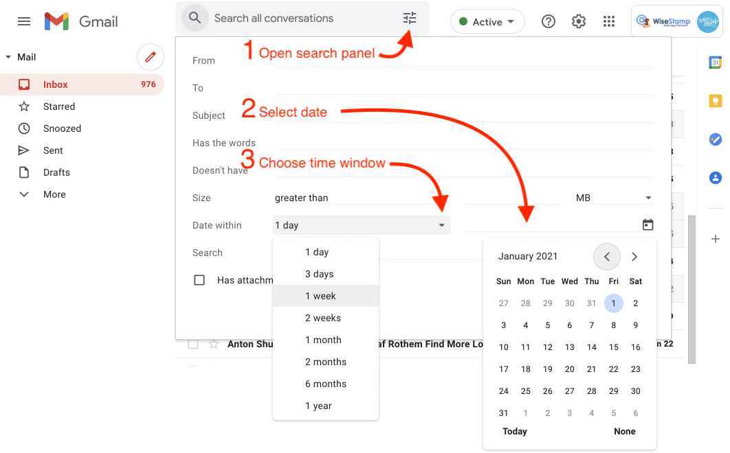 sort gmail by date