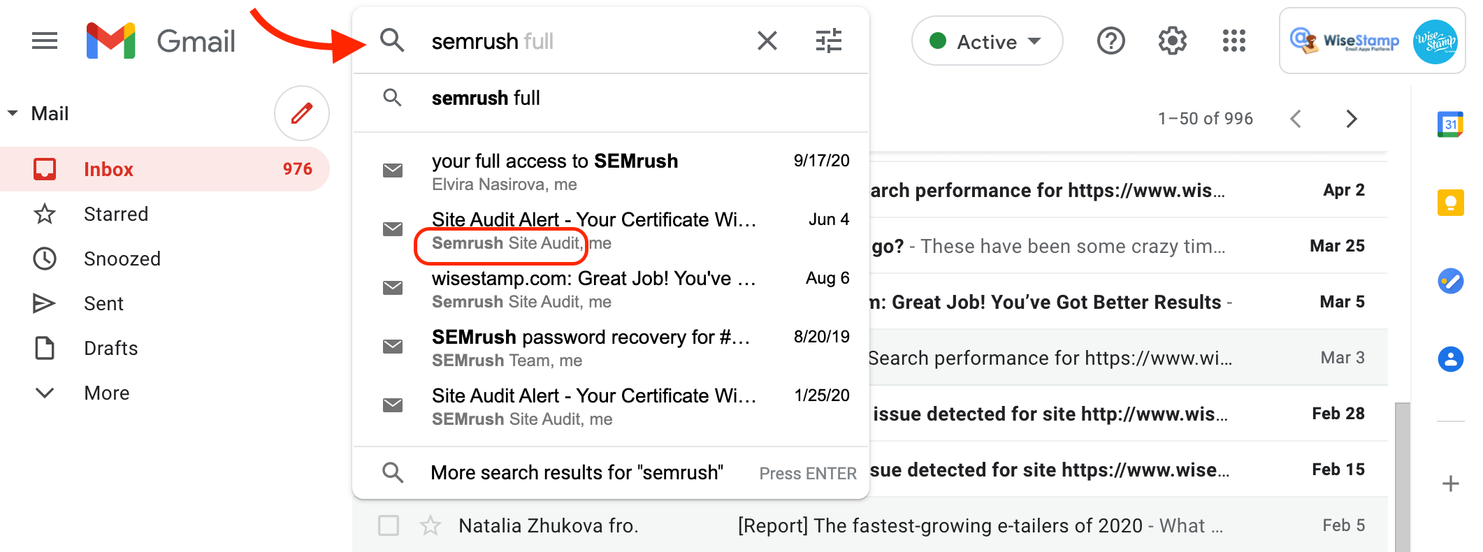 sort gmail by name