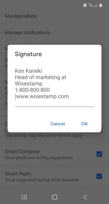 Gmail HTML signature for mobile