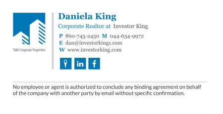 corporate real estate email signature with a disclaimer