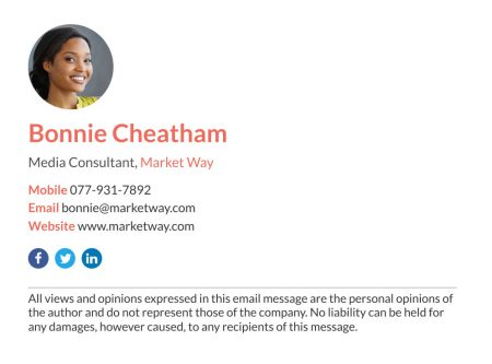 corporate media consultant email email signature with disclaimer